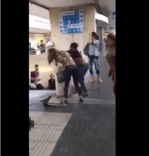Two Benin girls allegedly fight over man at train station in Europe (WATCH)